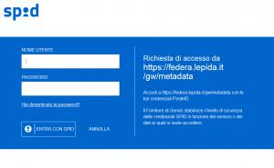 La pagina per il log in dell'Identià digitale